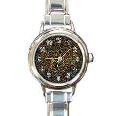 Flames Pattern Texture Gold Round Italian Charm Watch
