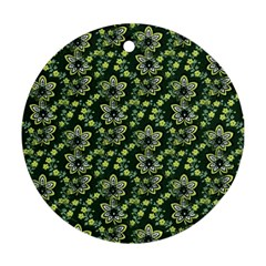Abstract Pattern Flower Leaf Round Ornament (two Sides)