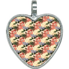 Flower Floral Decoration Pattern Heart Necklace by Pakrebo