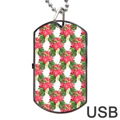 Floral Seamless Decorative Spring Dog Tag Usb Flash (two Sides)