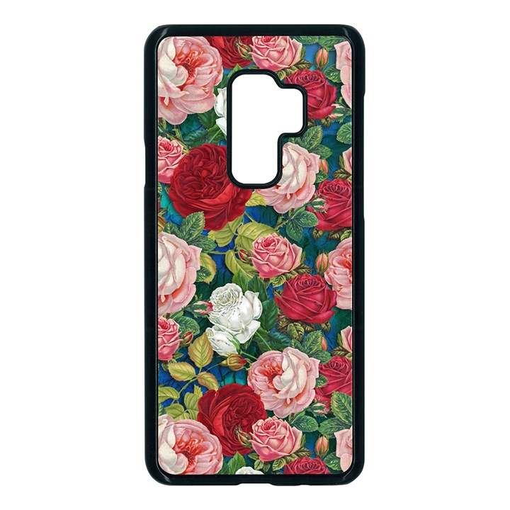Roses Repeat Floral Bouquet Samsung Galaxy S9 Plus Seamless Case(Black)