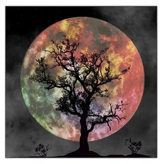 Full Moon Silhouette Tree Night Large Satin Scarf (square)