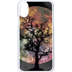 Full Moon Silhouette Tree Night Iphone Xs Seamless Case (white)