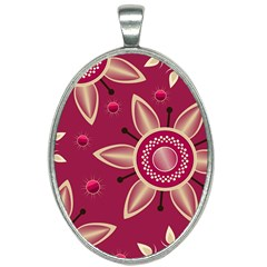 Background Non Seamless Pattern Art Oval Necklace by Pakrebo