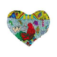 Supersonic Key West Gypsy Blast Standard 16  Premium Heart Shape Cushions by chellerayartisans