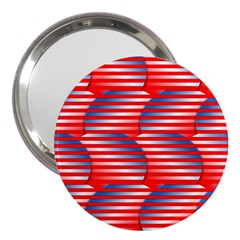 Patriotic Red White Blue Stripes 3  Handbag Mirrors