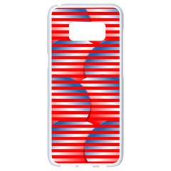 Patriotic Red White Blue Stripes Samsung Galaxy S8 White Seamless Case by AnjaniArt