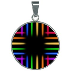 Neon Light Abstract Pattern 30mm Round Necklace