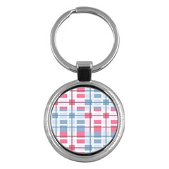 Fabric Textile Plaid Key Chain (round) by HermanTelo