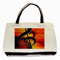 Clef Music Lines Notenblatt Basic Tote Bag (two Sides) by HermanTelo