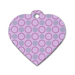 Circumference Point Pink Dog Tag Heart (two Sides)