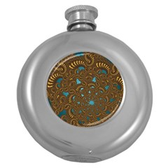 Fractal Abstract Round Hip Flask (5 Oz) by Bajindul