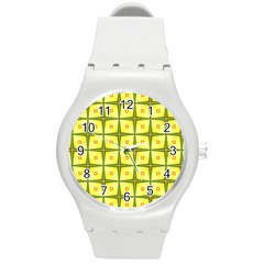 Background Pattern Gold Round Plastic Sport Watch (m) by Bajindul