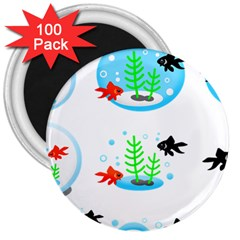 Fish Goldfish Water 3  Magnets (100 Pack) by Bajindul