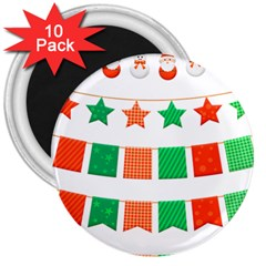 Christmas Bunting Banners Tasse 3  Magnets (10 Pack)