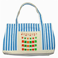 Christmas Bunting Banners Tasse Striped Blue Tote Bag