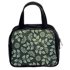 Flowers Pattern Spring Green Classic Handbag (two Sides) by Bajindul