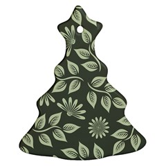 Flowers Pattern Spring Green Christmas Tree Ornament (two Sides)