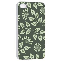 Flowers Pattern Spring Green Iphone 4/4s Seamless Case (white)