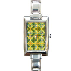 Green Plaid Star Gold Background Rectangle Italian Charm Watch by Alisyart