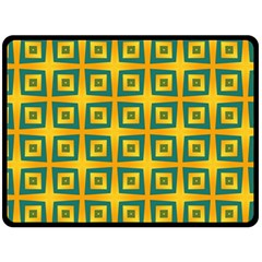 Green Plaid Star Gold Background Double Sided Fleece Blanket (large)