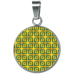 Green Plaid Star Gold Background 20mm Round Necklace by Alisyart