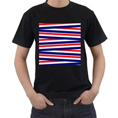 Patriotic Ribbons Men s T Shirt (black) (two Sided)