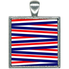 Patriotic Ribbons Square Necklace