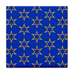 Star Pattern Blue Gold Face Towel