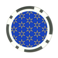 Star Pattern Blue Gold Poker Chip Card Guard (10 Pack)
