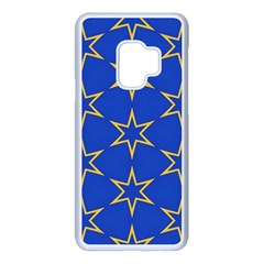 Star Pattern Blue Gold Samsung Galaxy S9 Seamless Case(white)