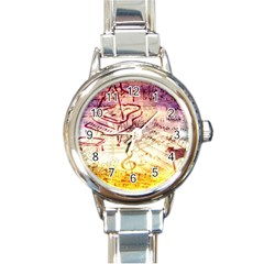 Scrapbooking Paper Music Round Italian Charm Watch by AnjaniArt