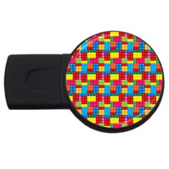 Lego Background Usb Flash Drive Round (4 Gb) by HermanTelo