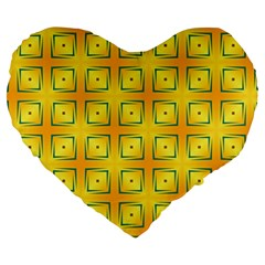 Green Plaid Gold Background Large 19  Premium Heart Shape Cushions