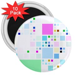 Square Colorful Pattern Geometric 3  Magnets (10 Pack)