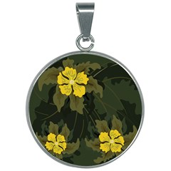 Flower Vector Background 30mm Round Necklace