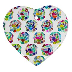 Flowers Floral Pattern Decorative Heart Ornament (two Sides)