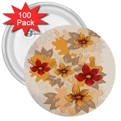 Flower Vector Background 3  Buttons (100 Pack)