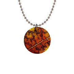Autumn Leaves Forest Fall Color 1  Button Necklace by Pakrebo