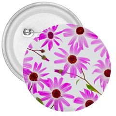 Pink Purple Daisies Design Flowers 3  Buttons
