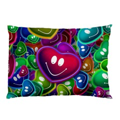 Heart Smile Love Many Friendly Pillow Case (two Sides)