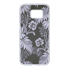 Ornament Flowers Leaf Samsung Galaxy S7 Edge White Seamless Case
