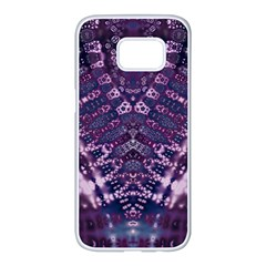 Purple Fractal Lace V Shape Samsung Galaxy S7 Edge White Seamless Case by KirstenStar