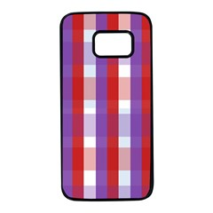 Gingham Pattern Line Samsung Galaxy S7 Black Seamless Case by HermanTelo