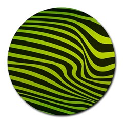 Wave Green Round Mousepads by HermanTelo