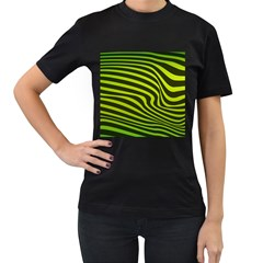 Wave Green Women s T Shirt (black) (two Sided) by HermanTelo