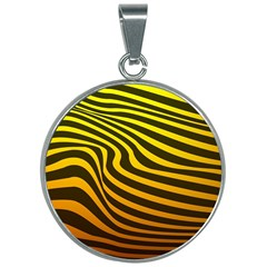 Wave Line Curve Abstract 30mm Round Necklace by HermanTelo