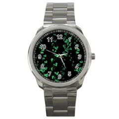 Botanical Dark Print Sport Metal Watch by dflcprintsclothing