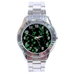 Botanical Dark Print Stainless Steel Analogue Watch by dflcprintsclothing