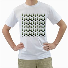 Cactus White Pattern Men s T-shirt (white) (two Sided)